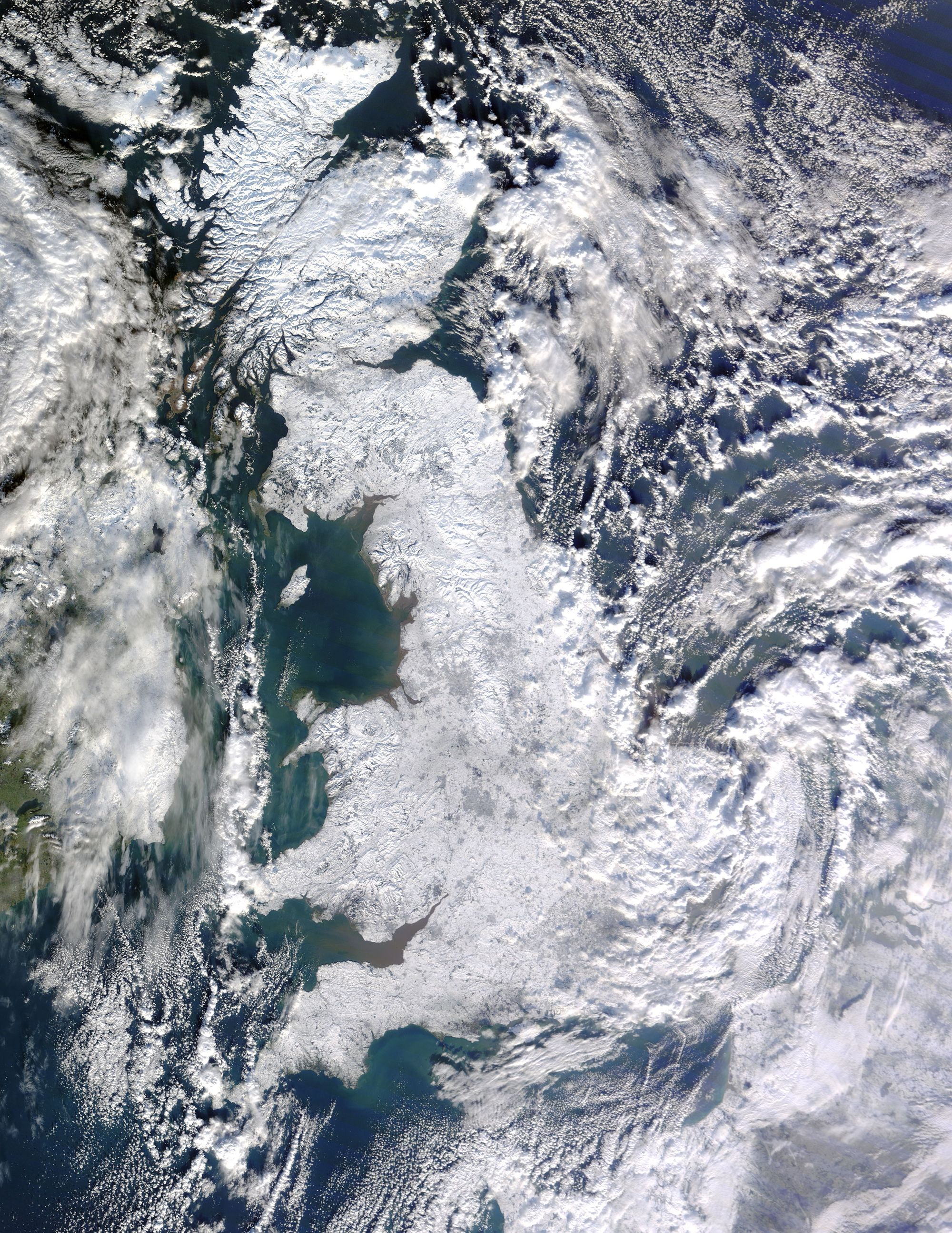 Satellite image of snow-covered Great Britain on 7 January 2010, taken by MODIS on NASA's Terra satellite.